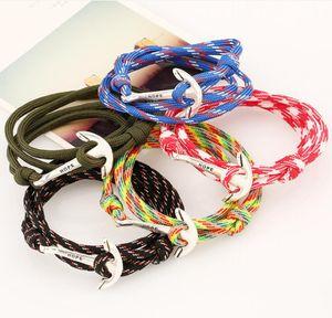 Fashion sailing navy sailboat anchor braided nylon bracelet men and women bracelet DAB072 Charm Bracelets jewelry bracelet