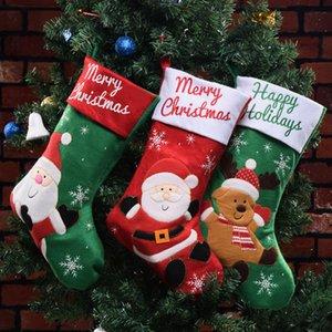 Natale Hanging Gift Candy Bag Stocking Xmas Tree Hanging Ornament bambini Candy Bag calza Capodanno Prop Socks