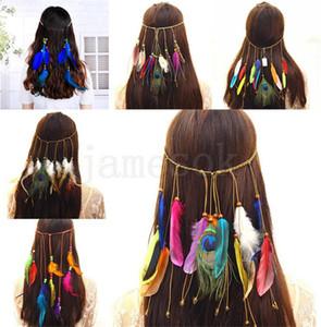 Böhmen-Art DA168 Frauen Mädchen Pfauenfeder Stirnband Hippie Haarschmuck Frauen Kopfschmuck Zopf Haarband Kopf Seil
