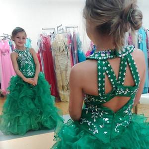 Princess Hunter Green Girls Pageant платья бисером кристаллы Холтер шеи Criss Cross Вернуться оборками из органзы Puffy Длинные вечерние платья девушки