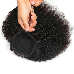 Human Hair Ponytail Drawstring Afro Kinky Curly Brazilian Indian Peruvian Human Hair Extensions Pony Tails For Africa Women