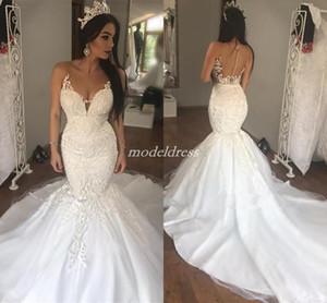 Arabe Voir à travers la sirène Robes de mariée Sheer Cou balayer Train Approplique Chapelle Jardin Pays Plus Taille Robes de mariée Vestido de Novia