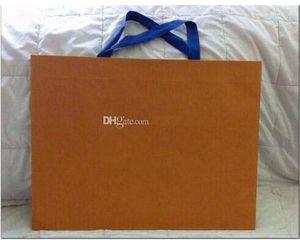 Arten des berühmten Marken-Logo-Papiers Einkaufstasche New Packaging Paper Shopping Gift Bag Orange weiße Farbe 43cm