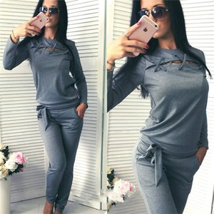 Women Long Sleeve Tracksuit Crew Neck Hollow Out Hoodies Casual Bow Trousers 2pcs Set Ladies Solid Color Tracksuit