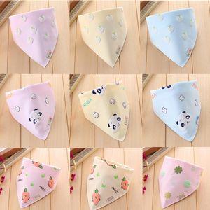 Asciugamano per saliva neonatale Modello tridimensionale per bimbo con pettorina Impermeabile doppio cotone sporco con stampa Triangle Lovely Super Cute 24