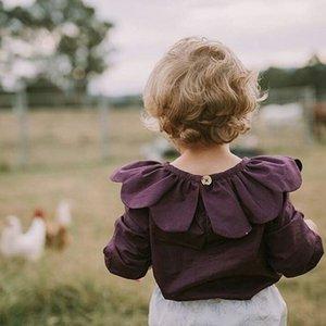 여자 블라우스 아기 소녀 셔츠 가을 의류 마카 어린이 유아 의류 유아 소녀 티 KIKIKIDS 보라색 셔츠 가을 의류 Y200704