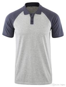 Herren Polos Short Sleeve Regular Kontrast-Farben-Patchwork-Männer Tops Male Fashion Tees Lässige Designer Revers