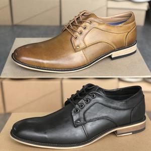 Formal klassischen Mens-Derby Leder-Kleid-Schuhe Herren Stiefel Mode Büro Hochzeit Schuhe schnüren sich oben mit Kasten Groß