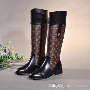 Stivali di pelle delle donne di modo classico di lusso scarpe da donna in pelle tacco alto Stivali Fibbia in metallo moda femminile 35-42