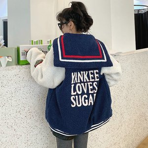 Овечья шерсть пальто женский темно-синий воротник короткая куртка письмо Вышивка Бейсбол равномерное с длинным рукавом мягкий внешний износ колледж стиль T191114