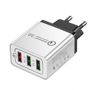 QC 3.0 carregador de parede 3 Portas Adaptador de viagem Quick Charge multi USB Phone Adaptadores UE US rápida portátil de carregamento para Smartphone