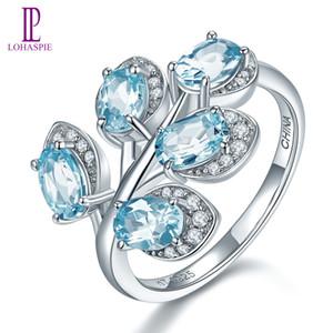 Anillo de la hoja sólida plata de ley 925 para la Mujer piedra preciosa natural de topacio azul cielo manera fina joyería de la boda del compromiso hecho a mano de la novia Señora