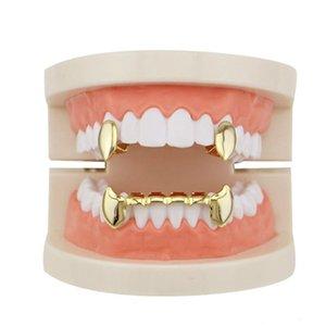 Venta al por mayor Glossy Copper Dental Grillz Punk Vampire Canine Teeth Jewelry Set Hip Hop Mujeres Hombres Accesorios chapados en oro de parrillas