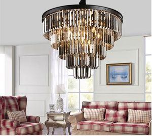 Amerikan siyah demir sanat kristal avizeler rblown cam avize ustic kristal avize yatak odası lamba, duman gri kristal lamba