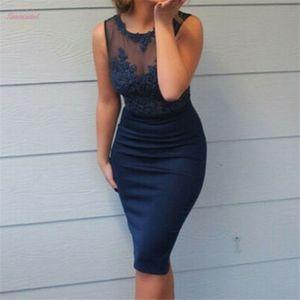 Офисное Рабочее Платье Женщины Кружева Лоскутное Платье Без Рукавов Ol Business Dress Повседневные Платья Элегантная Оболочка Party Vestidos Синий Плюс Размер