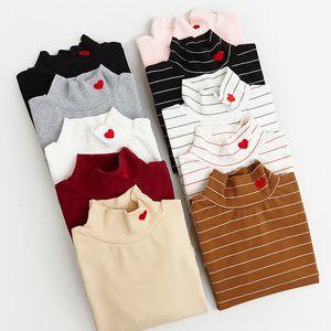 2019 Haraku Frau Korean Rock Shirt Lustige Rose Kawai Top Langarm Enge Weste Schöne Stickerei Elastic Love T-shirt