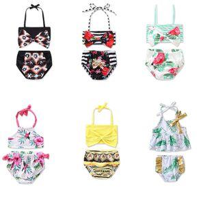 بنات طفل الزهور المايوه 7 تصاميم طفل الزهور الرافعة الكشكشة الاستحمام الدعاوى الاطفال شاطئ بيكيني الرياضات المائية ملابس M2133