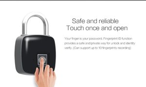 Smart Fingerprint Lock Portable Security Padlock Waterproof Anti-theft Padlock for Golf bag Suitcase Gym Locker Cupboard Drawer Door