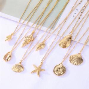 Kadınlar Bohemian Cowrie Shell gerdanlık Kolyeler Kadın Okyanus Takı İçin Yeni Altın Moda Shell Denizyıldızı kolye kolye
