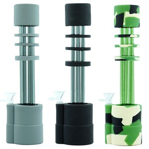 Gatling Big Glass Bong Straight Water Pipes silicone Bongs Heady Pipe wax Oil Rigs herb bubbler Hookahs Dab Rig with Glass bowl