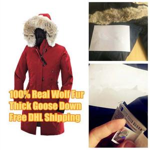 Kış Aşağı Parkas Hoody Kanada Kensington Kurt Kürk Bayan Ceket Fermuarlar Tasarımcı Ceket Sıcak Coat Açık Parkası