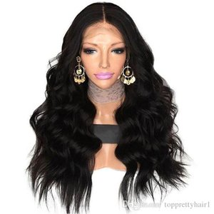 Body Wave Synthetic Lace Front Wig With Natural Hairline Heat Resistant Full Density Middle Part color Black Synthetic Wig With Baby Hair