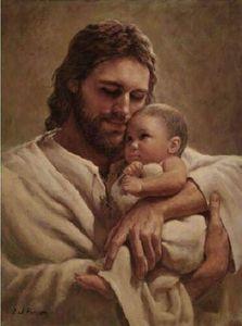 A057 # Del Парсон В объятьях ЕГО ЛЮБВИ Home Decor Иисуса Христа держит младенца HD Печать картины маслом на холсте Wall Art Pictures 200110