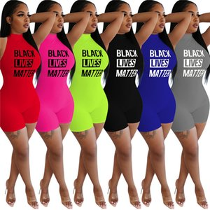 Women summer sexy Jumpsuits letter shorts S-2XL hot selling rompers solid color high collar sleeveless bodysuit capris clothing DHL 3401