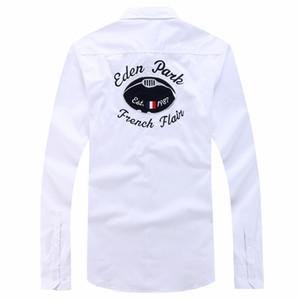 Eden Park hommes Chemise Masculine chemises Polo petits hauts Qualité marque de mode design chemises de broderie de coton solide occasionnels M L XL XXL