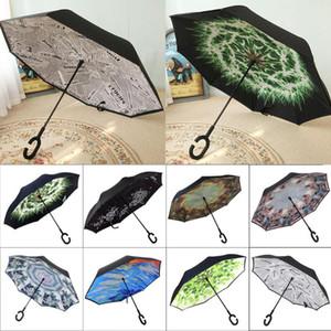 Paraguas inverso puede colocar la inversa Sombrilla Paraguas C manija a prueba de viento Lluvia Paraguas de coches para las mujeres