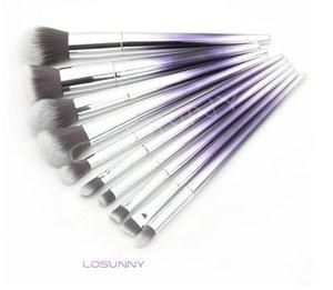 LOSUNNY 10 Pcs Tapered Gradient En Plastique Poignée Maquillage Brosse Set Licorne Spirale Poignée Lâche Poudre Maquillage Des Yeux Brillant À Lèvres