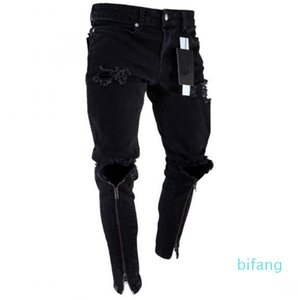 Wholesale Mens Zipper Holes Designer Jeans Black Ripped Slim Fit Represen Pencil Pants