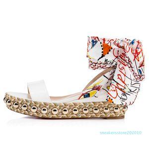 2019SS verão lindo Red inferior levantino 60 milímetros couro envernizado branco Wedge Sandal ouro Studs Graffiti com tira no tornozelo Gladiator Sandals SS1