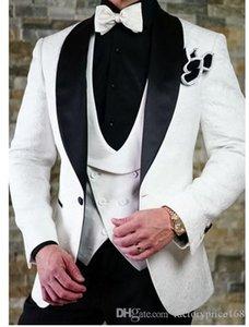 Слоновой кости смокинги жениха свадебные мужские костюмы мужские свадебные костюмы смокинги костюмы де курение для мужчин (куртка + брюки + галстук + жилет) 003