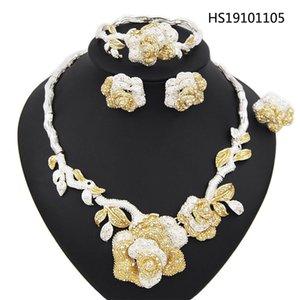 Collar Gargantilla Yulaili nueva plata de la boda de la flor del Zircon Pendientes de la pulsera del anillo Dubai sistemas de la joyería joyería del adicto