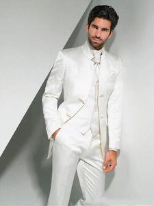 En ligne smokings marié Mandarin Costume Lapel Homme Blanc Groomsman Meilleur homme Costumes de mariage / robe de bal (veste + pantalon + cravate + Gilet)