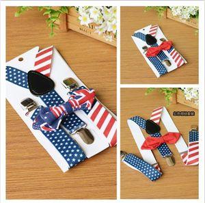 Bandera americana Niños suspender independencia Día Niños niños niñas estrellas raya forma de Y cinturones elásticos ajustables + Arcos atar 2pcs conjuntos Y2584