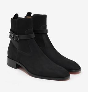Venda quente-Top Qualidade Homens Tornozelo Botas de Salto Baixo Camurça Preta Kicko Plana Preto Nubuck Jodhpur Botas Homens Festa de Casamento Sapatos Mid Sneakers