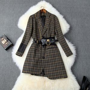 2019 Fall-Herbst Langarm-Kerb-Revers Glamorous Plaiddruck Belted Asymmetry Einreiher Mode Blazer Outwear Coats O06T10244