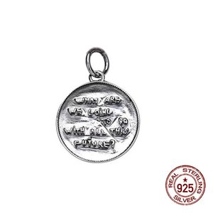 100% S925 sterling silver pendant couple personality simple and versatile retro round letter style to send a gift 2019 new hot