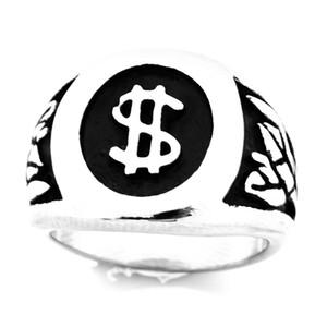 FANSSTEEL الفولاذ المقاوم للصدأ خمر رجل أو wemens المجوهرات SIGNET الدولار الأمريكي SYMBOL RING خطابات RING FSR10W66
