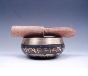 Ottone tibetano gilt Chakra Singing Bowl meditazione Gong NERO mano martellato Mallet antico decorazione del giardino argento Ottone