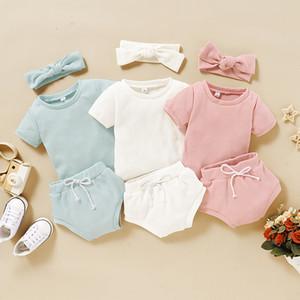 Vestiti del bambino di estate delle infanti in morbido cotone Solid Outfits bambini manica corta T-shirt Top + Short Pants + fasce 3pcs / set per il bambino M1715