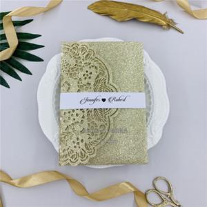 Brillo especial Champagne Tri-fold invitaciones de la boda del corte del laser con la banda de la tarjeta de RSVP del vientre, láser invita a WeddingsEvent