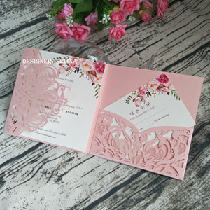 Pink Wedding Invitation Cover, Pocket ONLY DIY Gorgeous Shimmy Floral Square Laser Cut Quinceanera Invite Envelope Free Shipping