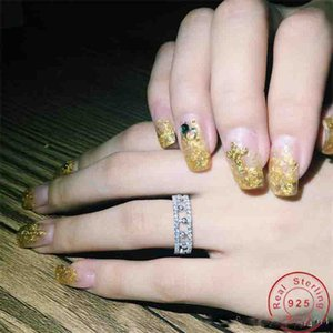Klassische Schmuck reale 925 Sterlingsilber voll Weiß Topaz CZ-Diamant-Pfeffer-Partei Gemstones Eternity Frauen Wedding Band Ring-Geschenk