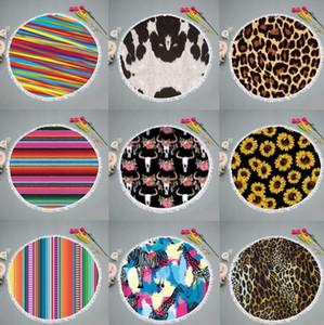 Round Strandtuch Beach Blanket Quaste Striped Kreis Handtücher gedruckte Frauen-Schal-Yoga-Matten-Picknick-Teppiche 9 Farben XHCFYZ13