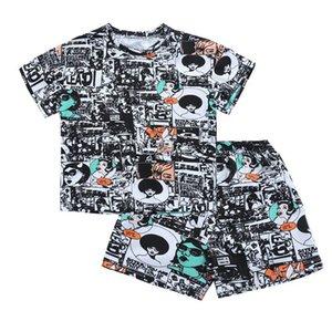 Ins 2020 Summer casual boys suits fashion kids suits short sleeve T shirt+shorts 2pcs boys outfits kids designer clothes boys clothes B1342