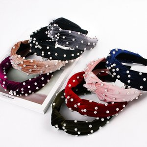 Pearl Velvet Knot Large Serre-tête pour les femmes noueuse coréen solide mou Bandeau cheveux Hoop bande Filles Accessoires cheveux Vintage Party Bijoux