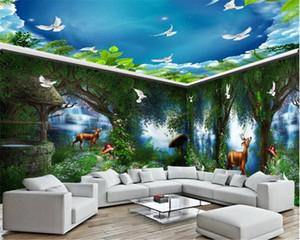Antecedentes 3d papel tapiz de vida para toda la habitación pared de la casa rural del país de la fantasía del cuento Bosque Cascada Mural Fondos de alta definición